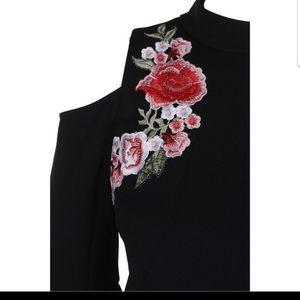 Jax Dresses - Jax Embroidered Cold Shoulder Dress